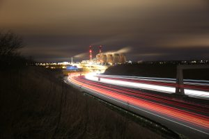 Ferrybridge Power Station at night from the A1